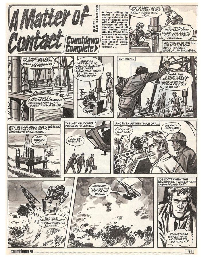 """The opening page of the one-off strip """"A Matter of Contact"""" from Countdown No. 37, cover dated 10th October 1971. Art by Rab Hamilton"""