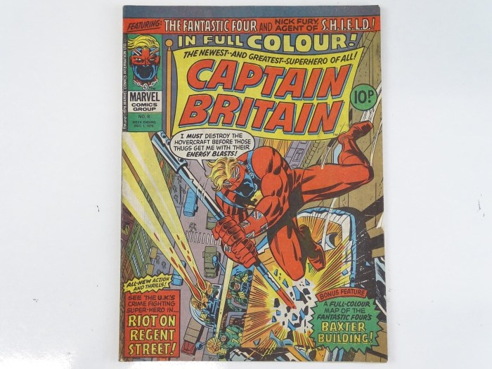 """Captain Britain #8 - (1976), featuring the First appearance of Elisabeth """"Betsy"""" Braddock, who later becomes Psylocke. Cover by  Herb Trimpe with Trimpe and Fred Kida interior art"""