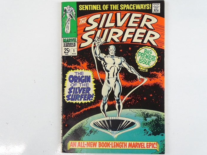 Silver Surfer #1 - (1968 - Marvel). Silver Surfer's origin is retold in more detail + The Watcher backup stories begin with his origin. John Buscema cover with Buscema and Gene Colan interior art