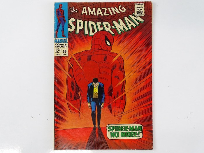 Amazing Spider-Man #50 (1971 - Marvel) features the first appearance of the Kingpin, one of Spider-Man's and Marvel's most iconic, ruthless, and enduring foes and Spider-Man's origin retold. It also features Johnny Carson and Ed McMahon appearances. John Romita Sr. created this iconic cover and interior art