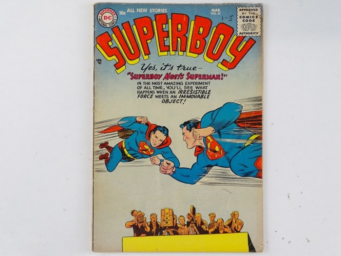 Superboy #47 - (1956 - DC). features a Superman appearance and a full-page ad for Showcase #1. Curt Swan story and interior art