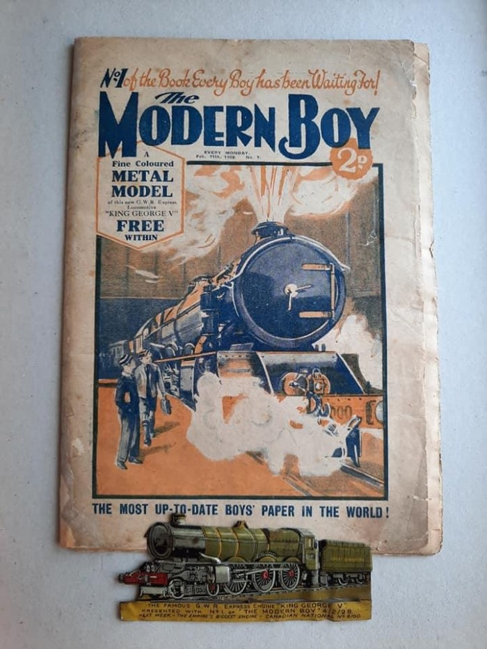 The first issue of The Modern Boy with its tin plate free gift, issue cover dated 11th February 1928. With thanks to John Pollock