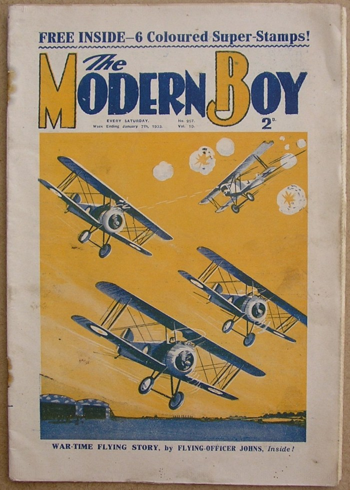 """The Modern Boy No. 257, cover dated 7th January 1933. W. E. Johns content includes the very first appearance of Biggles in The Modern Boy -""""Biggles and the White Fokker"""""""