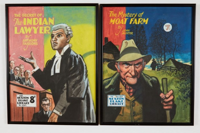 Sexton Blake/The Mystery of Moat Farm (1946) and the Secret of the Indian Lawyer (1953). Two original cover artworks by Eric Parker for Sexton Blake Library Nos 125 and 290, both also included. Poster colour on board, 16 x 13 ins each