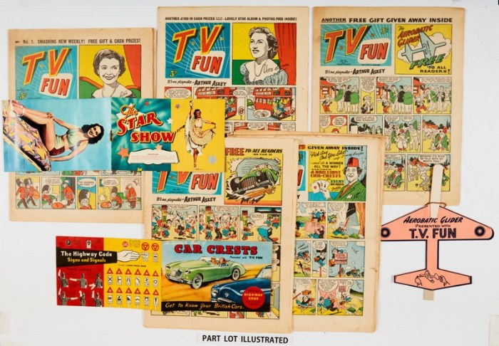 T.V. Fun (1953-56) 1, 2 wfg Star Show Album and photos, 39 wfg Acrobatic Glider, 157-159, 166 wfgs Spotters Book of Car Crests with most car crests attached