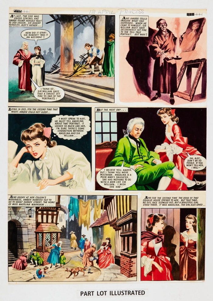 The Daughter of Lorna Doone: two consecutive original colour artworks by Ron Embleton (early Sixties) for Princess magazine. Angelina and Sir William's secret is discovered as the house catches fire. Bright poster colours on board. 23 x 17 (2 artworks)