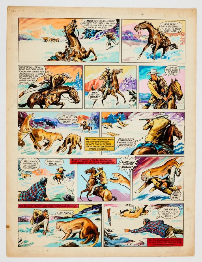 Gun Law original colour artwork (1961) by Paddy Nevin for T.V. Express No 224 (1961). Marshall Matt Dillon and Chester fight off the mountain lions. Poster colour on board. 21 x 16 ins