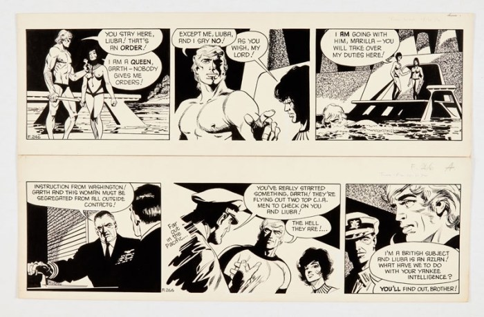 Garth: 'The People of the Abyss' two original artworks (1972) by Frank Bellamy for the Daily Mirror 18.10.72 and 10.11.72. Indian ink on board. 21 x 17 ins (x2)