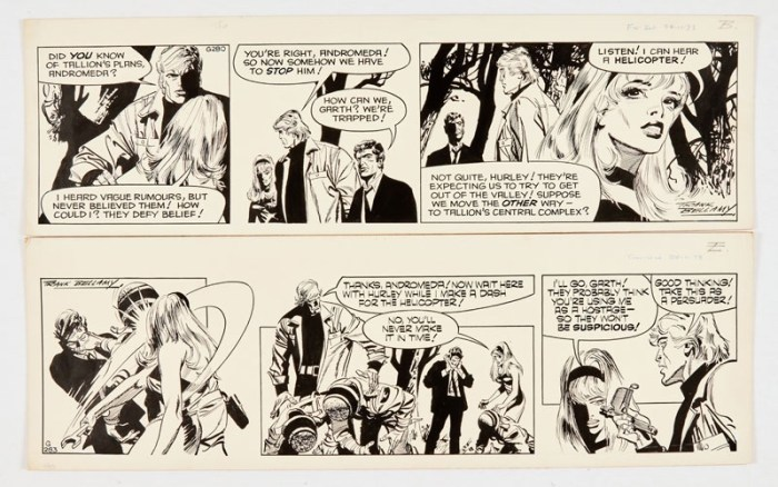 Garth: 'The Wreckers' two original artworks (1973) by Frank Bellamy (both signed) 24/28 Nov 1973. Indian ink on board. 21 x 17 (x2)