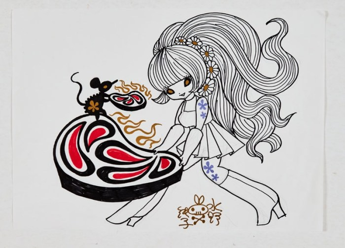 Junko Mizuno signed original artwork sketch Psychedelic Girl, cute mouse and sizzling steaks (2014). Coloured marker pens on paper. 16 x 12 ins