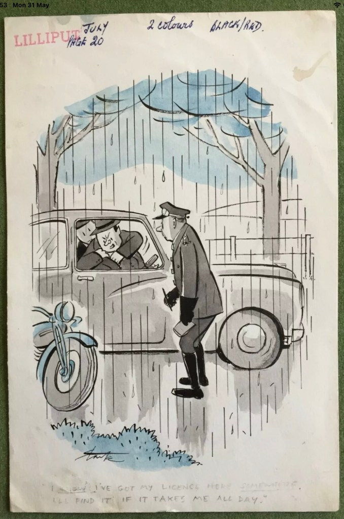 """Cartoon by Leslie Starke for Lilliput. The caption reads """"I've got my licence here somewhere… I'll find it if it takes me all day!"""""""