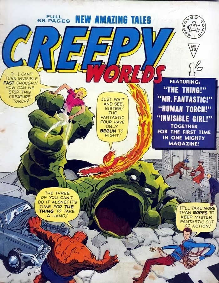 Creepy Worlds No. 32 saw the debut of the Fantastic Four in a UK publication, in 1962. With thanks to Lew Stringer