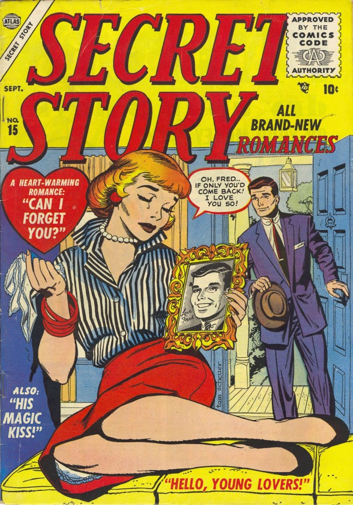 Secret Story Romances #15, published in 1955 - cover art by Tom Sawyer