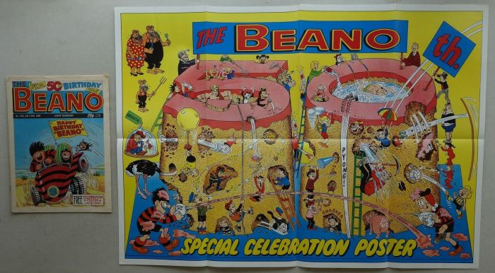 """Beano No. 2402, cover dated 30th July 1988, with Free """"50th Birthday"""" celebration poster"""