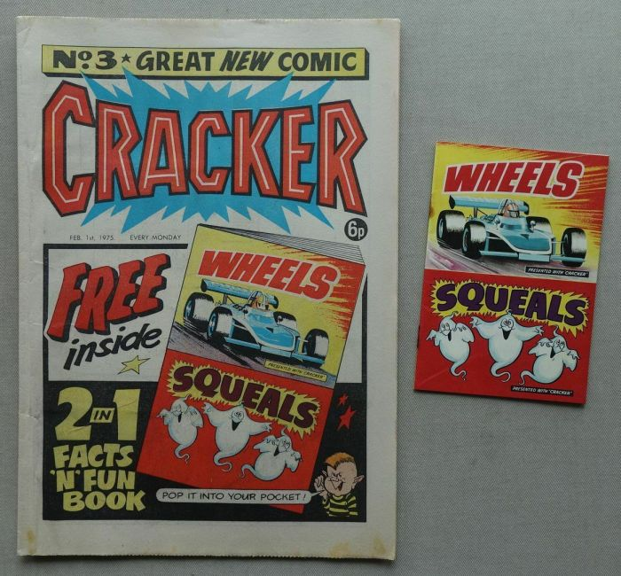 """Cracker No. 3, cover dated 1st February 1975 with free """"Two in One"""" Facts-n-Fun-Book, comprising """"Wheels"""" and """"Squeals"""""""