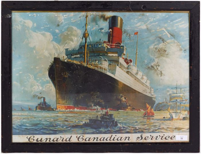 Cunard Canadian Service poster. Printed in Great Britain, Lithographic Walter Thomas Cruise Line Travel (1894-1971) poster laid on cardboard circa 1920