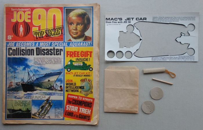 Joe 90 No. 1, cover dated 18th January 1969, with part of its free gift - Mac's jet car