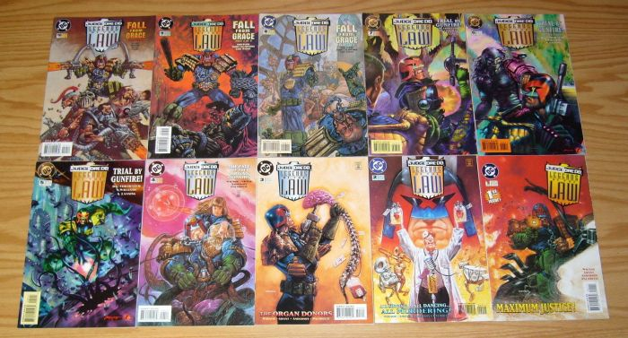 A selection of issues of DC Comics' Judge Dredd: Legends of the Law