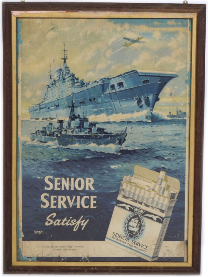 """""""Senior Service Satisfy"""" poster, featuring the H.M.S. Eagle aircraft Carrier escorted by """"weapon"""" class destroyer"""