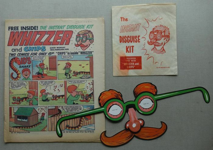 """Whizzer and Chips, cover dated 28th February 1970, with free """"Disguise Kit"""" gift"""