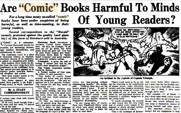 """In 1948,  a Sydney mother said """"Any comics found around our house now are thrown into the incinerator"""". Cutting via Phil Hore"""