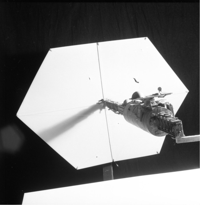 The solar sail ship from Dan Dare, attached to its rig for photography