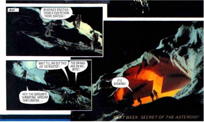 """Julian's models, as seen in """"Dan Dare"""" in Eagle in 1983, inserted into a strip drawn by Ian Kennedy"""