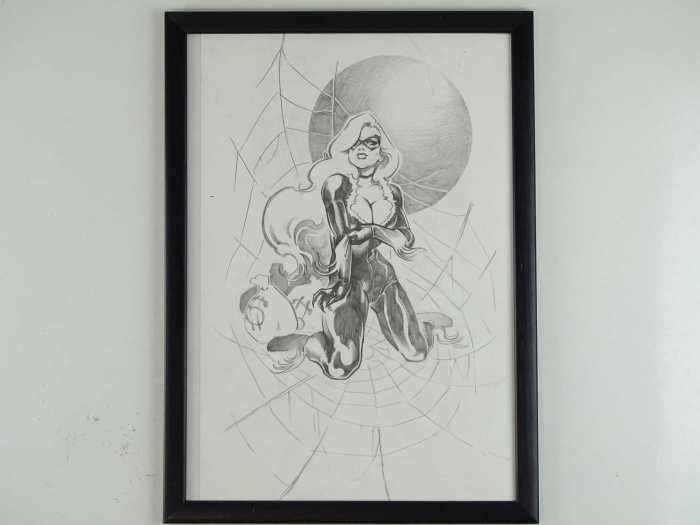 BLACK CAT - Original artwork by DaNi (Dani Strips) - Pencil & graphite drawing SIGNED & DATED 2015 by DaNi of the popular Marvel character and sometime Spider-Man partner The Black Cat (Felicia Hardy)