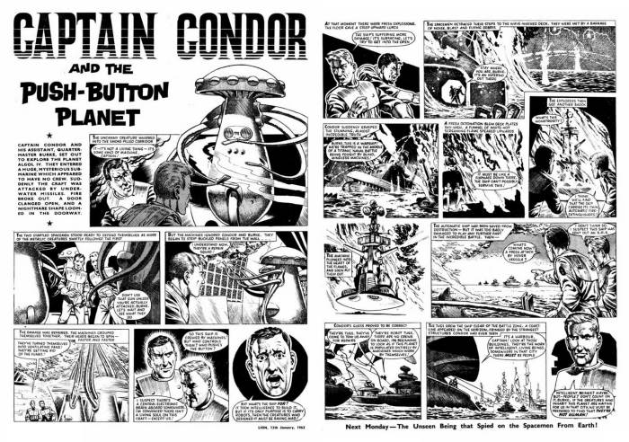 """An episode of the Captain Condor story """"The Push Button Planet"""", form Lion, cover dated 13th January 1962"""