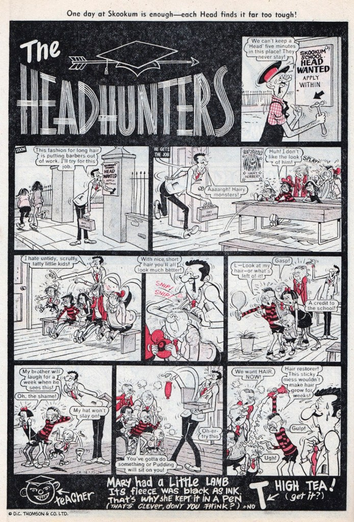 """""""The Headhunters"""", a continuation of """"Skookum Skool"""" from the by then defunct Buzz, from Cracker No. 1, cover dated 18th January 1975. With thanks to Lew Stringer"""