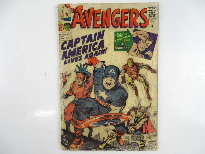 AVENGERS #4 - (1964 - MARVEL - UK Price Variant) - KEY MARVEL BOOK - First Silver Age appearance of Captain America