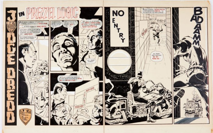 2000AD Prog 304 (1983) original artwork by Ron Smith pgs 16-17 double page spread. The Mega-City Criminals, led by Danzo Prezzel, set a trap for Judge Dredd. Indian ink on board. 32 x 22 ins