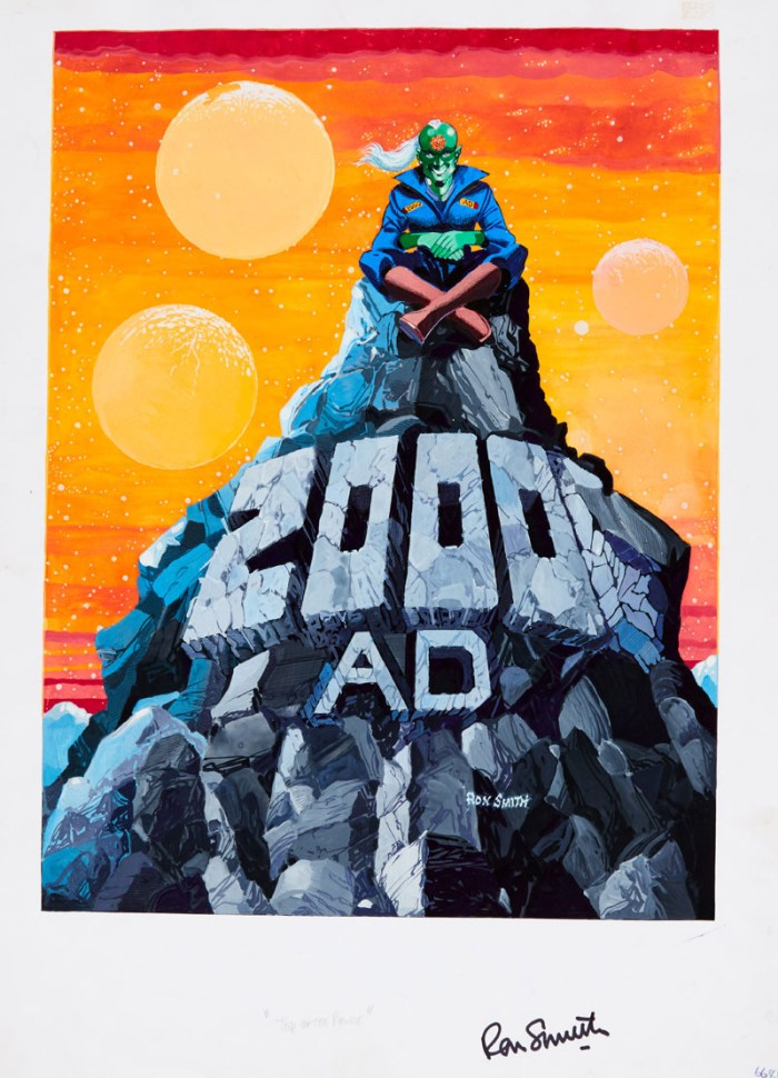 2000 AD Prog 807 (1992) back cover original artwork painted and signed by Ron Smith, also signed to the lower margin