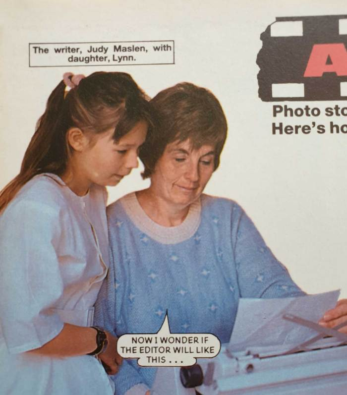 Judy Maslen and daughter Lynn make an appearance in a guide to how Bunty's photo stories are created, in the 1990 Bunty annual. Image © DC Thomson Media