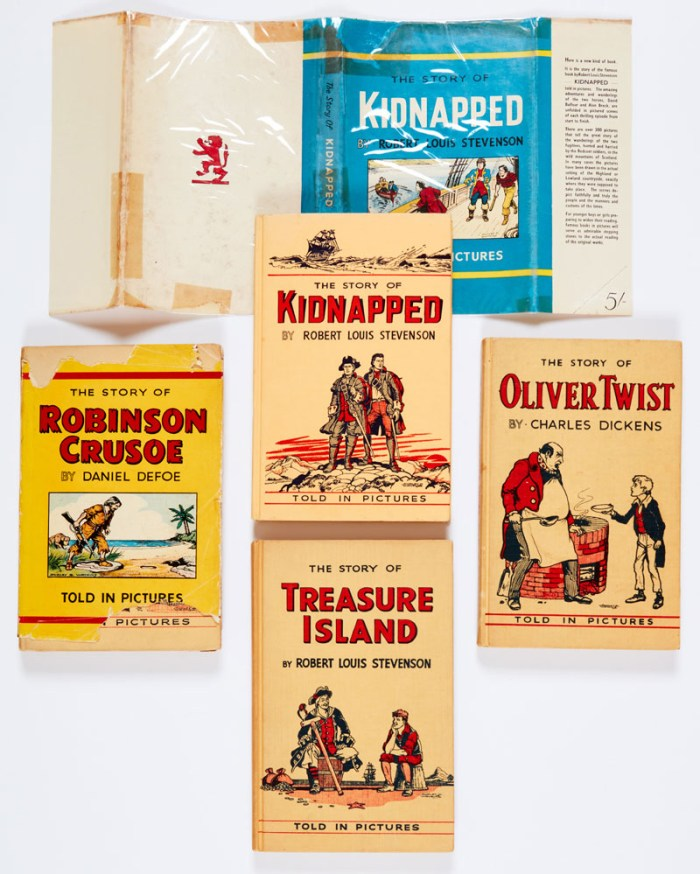 DC Thomson Famous Books In Pictures illustrated by Dudley Watkins (1948-53). Complete set. Kidnapped: book [fn], dj: torn away pieces filled in [gd]. Robinson Crusoe: book [vg], dj: tears, pieces missing [gd], Oliver Twist [fn], Treasure Island [fn]