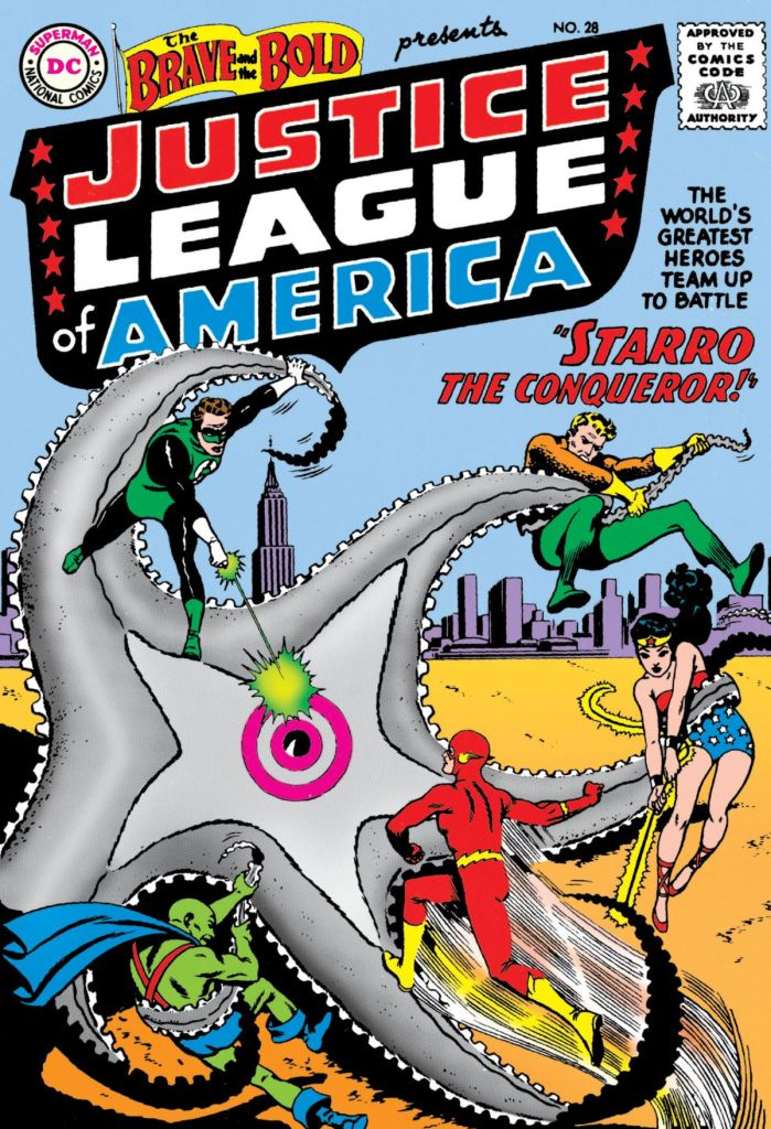 The first appearance of Starro in comics, in The Brave and the Bold Volume 1 #28 - Justice League of America #28 (1960) - cover by Mike Sekowsky, Murphy Anderson and Jack Adler