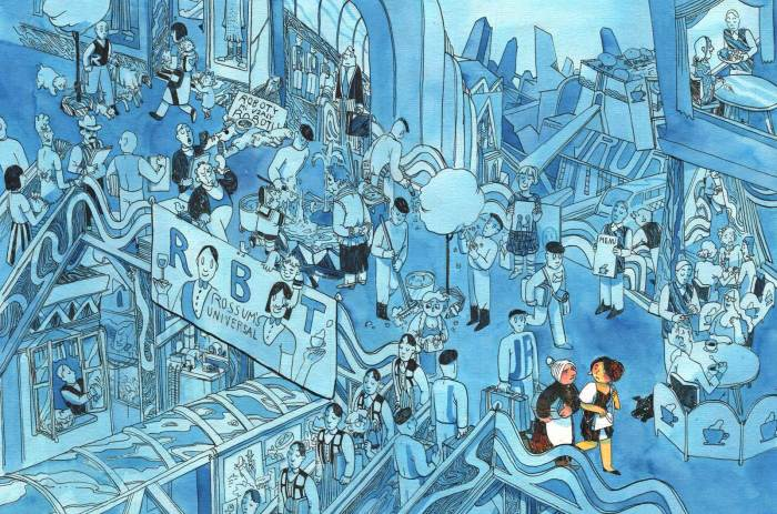 Art from Kateřina Čupová's debut graphic novel, Rossum's Universal Robots, an adaptation of Karel Čapek's drama R.U.R