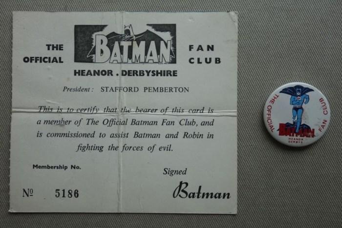 Batman UK Fan Club Membership Card and Badge