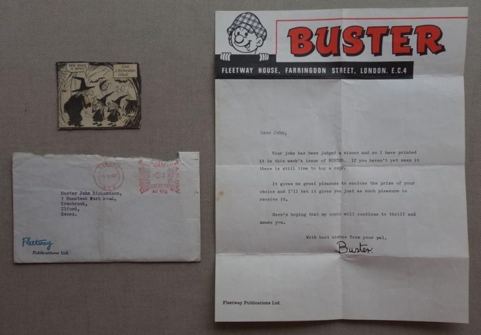 Buster comic Rare Reader Letter from 1967, in Fleetway envelope