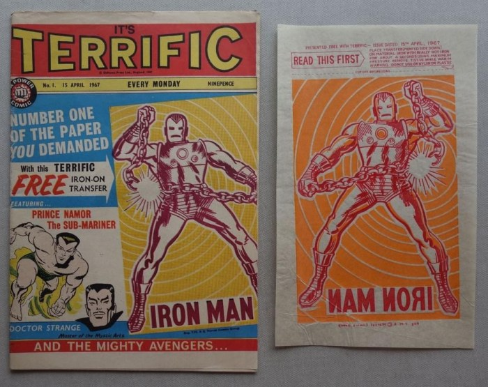 """Terrific No. 1, cover dated 15th April 1967, with free """"Iron-On Transfer"""" Iron Man gift"""