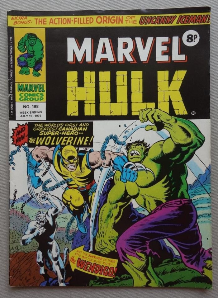 Mighty World of Marvel #198, cover dated 14th July 1976 - Hulk versus Wolverine!