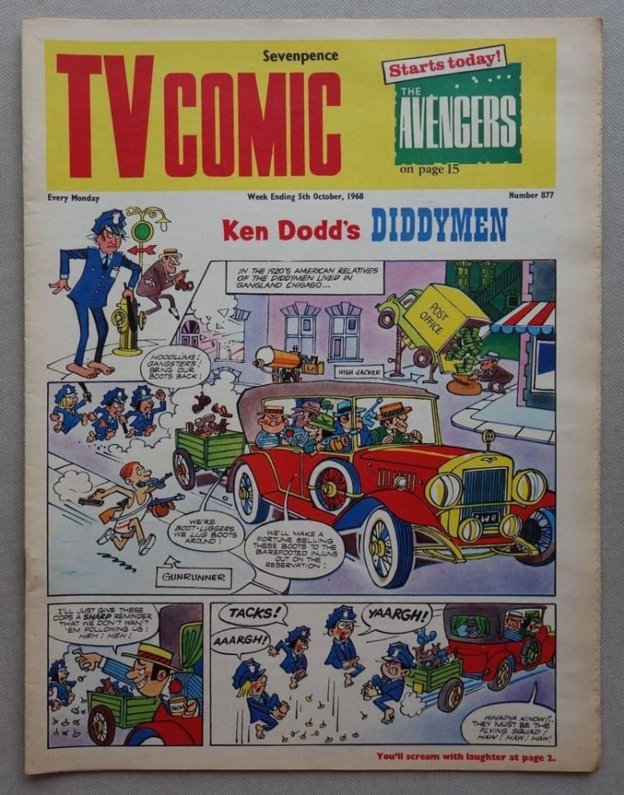"""TV Comic No. 877, cover dated 5th October 1968, featuring """"The Avengers"""" and """"Doctor Who"""""""