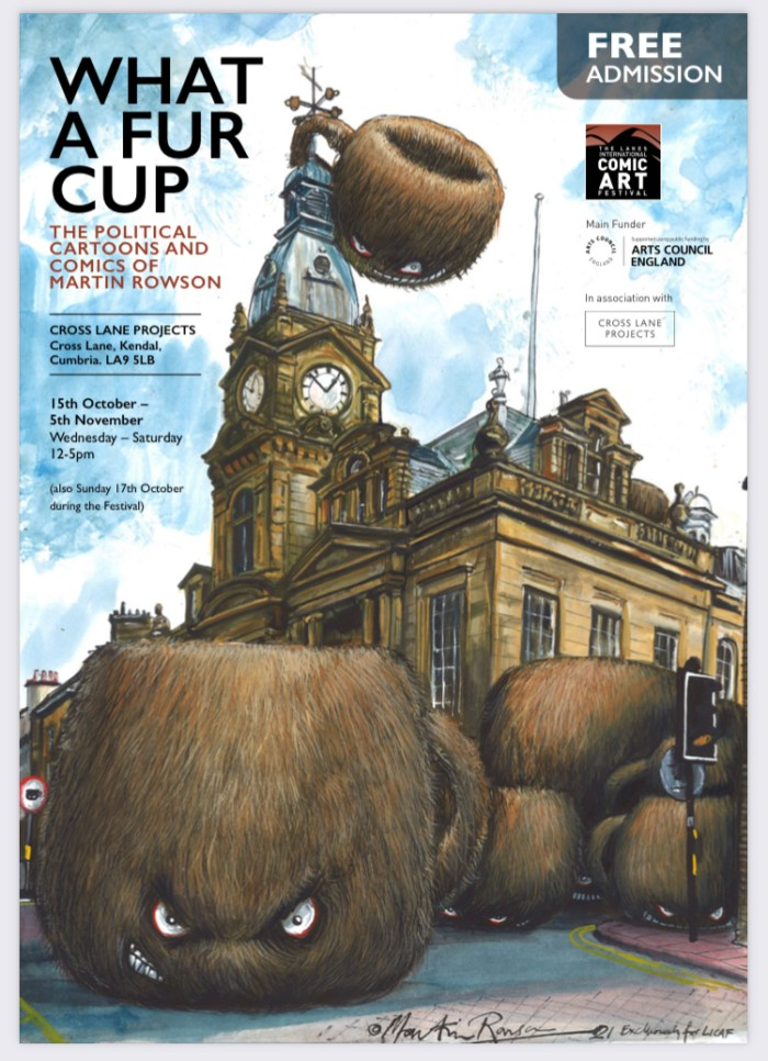 LICAF 2021 - What a Fur Cap Exhibition Poster, art by Martin Rowson