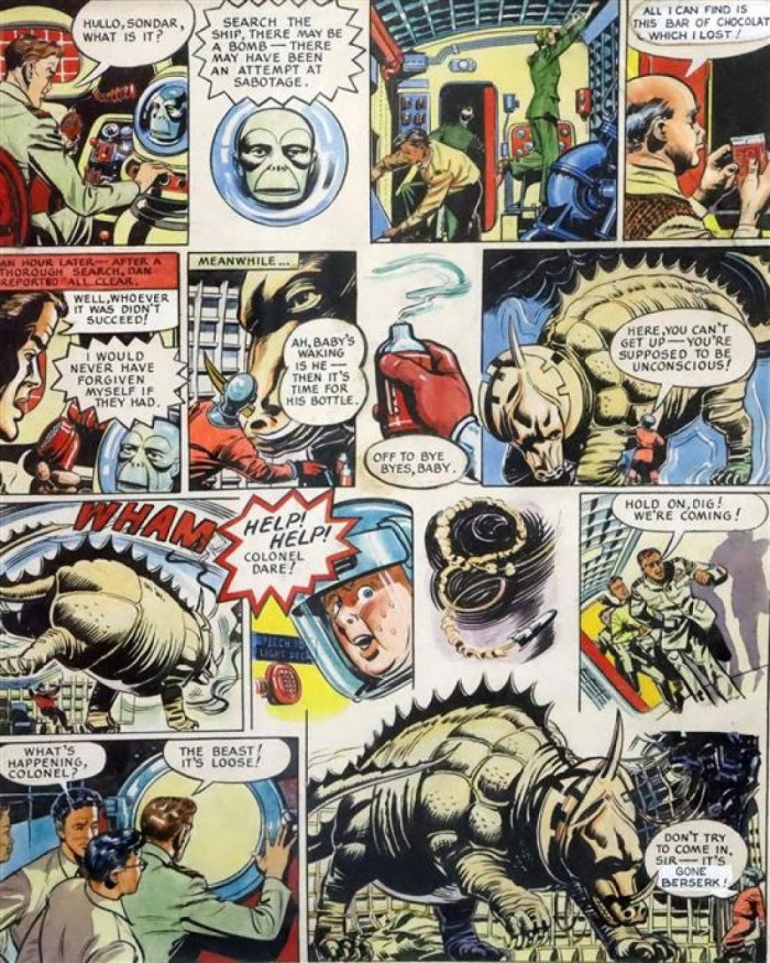 """A page from """"Operation Triceratops"""" from Eagle Annual 4, art by Harold Johns and Greta Tomlinson"""