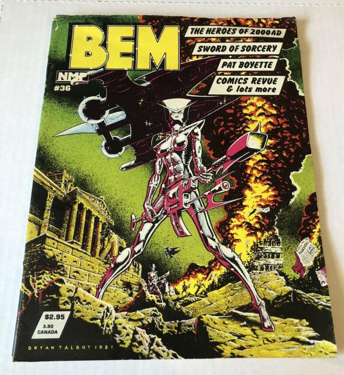 The US version of the final issue of BEM #36, cover by Bryan Talbot. With thanks to to David Roach