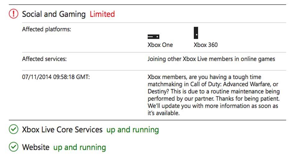 Xbox Live Matchmaking Status Service Alert For Nov Down