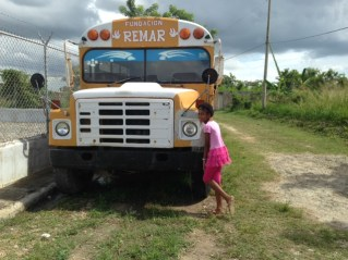 Stefana posing with Remar bus