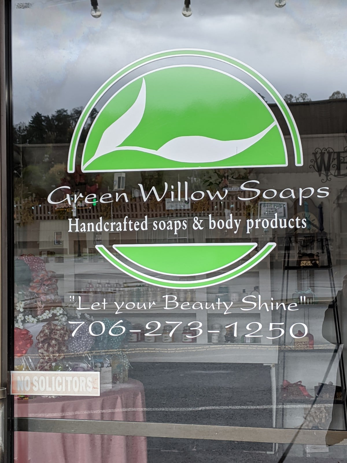 Green Willow Soaps storefront in Downtown Ellijay.