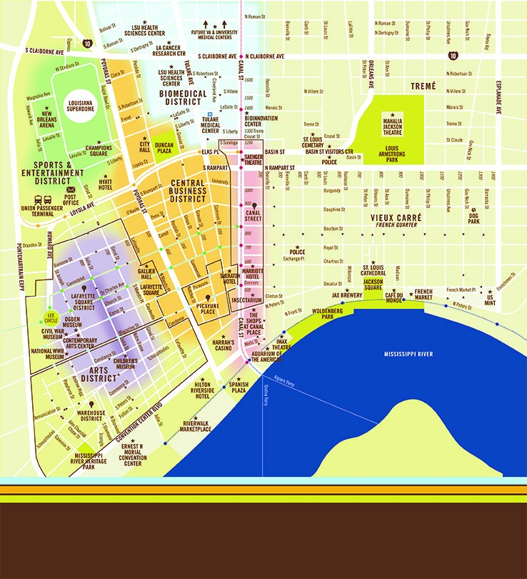 picture relating to Printable Map of New Orleans identified as Downtown Map Downtown Refreshing Orleans