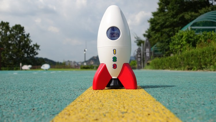 A picture of a toy rocket.